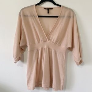 BCBGMAXAZRIA Plunging V Merino Wool Pink Knit Top